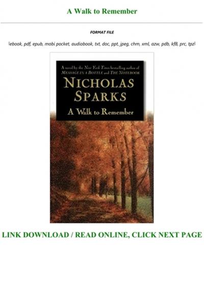 a walk to remember nicholas sparks epub free download