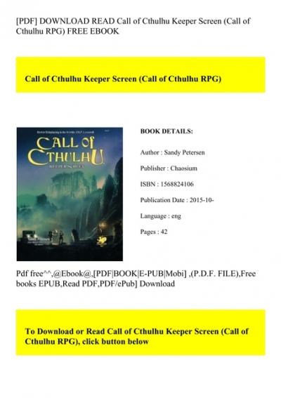 Pdf Download Read Call Of Cthulhu Keeper Screen Call Of Cthulhu Rpg Free Ebook