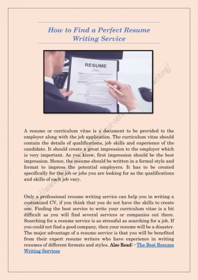 How To Find A Perfect Resume Writing Service