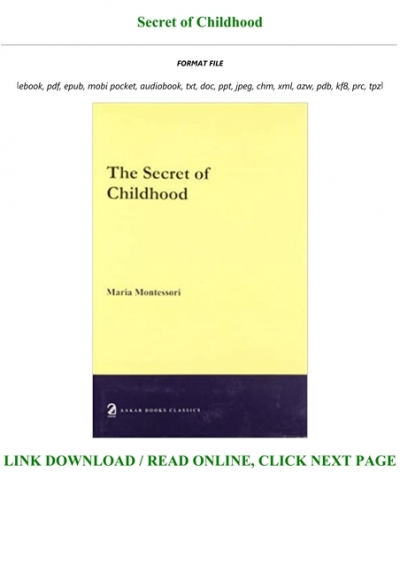 the secret of childhood by maria montessori free download
