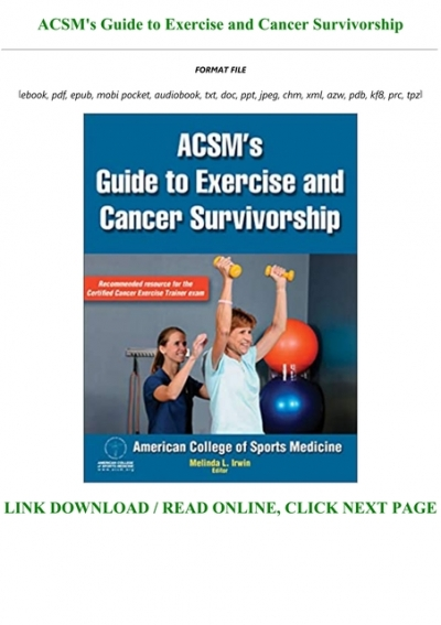 Book Acsm S Guide To Exercise And Cancer Survivorship Full Books