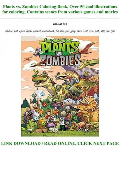 Read Book Pdf Plants Vs Zombies Coloring Book Over 50 Cool Illustrations For Coloring Contains Scenes From Various Games And Movies Full Books