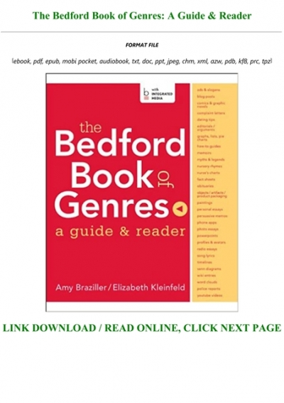 Download In Pdf The Bedford Book Of Genres A Guide Reader For Any Device