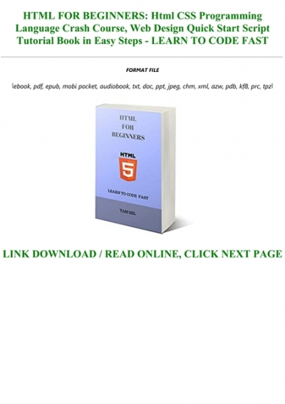 Bestsellers Read Book Pdf Html For Beginners Html Css Programming Language Crash Course Web Design Quick Start Script Tutorial Book In Easy Steps Learn To Code Fast Full Books