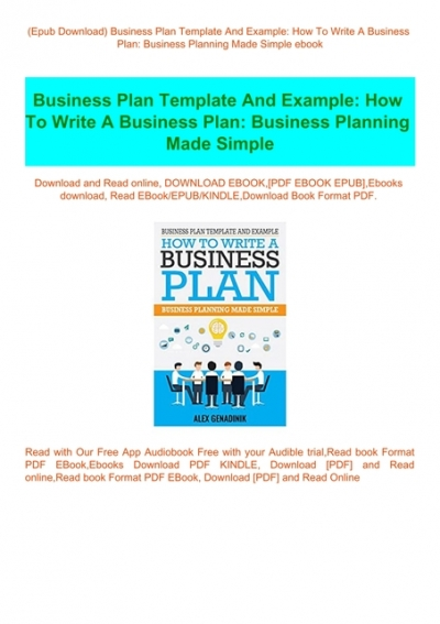 Epub Download Business Plan Template And Example How To Write A Business Plan Business Planning Made Simple Ebook