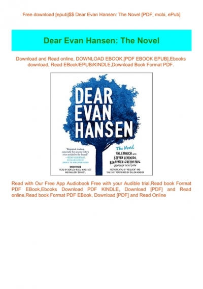 Free Download Epub Dear Evan Hansen The Novel Pdf Mobi Epub
