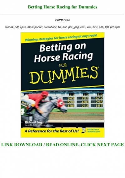 Horse betting for dummies pdf unibet betting app android