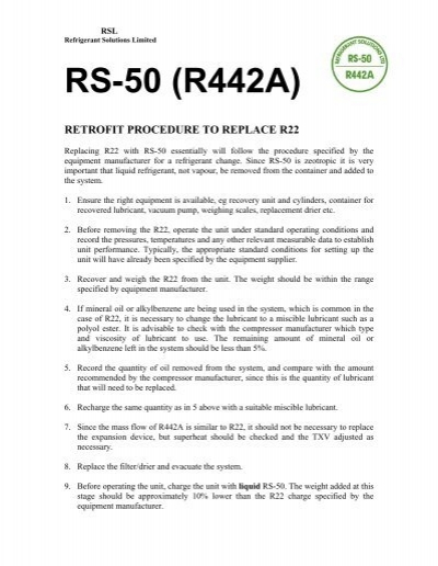 rs-50 (r442a) retrofit procedure to replace r22 - Refrigerant Solutions