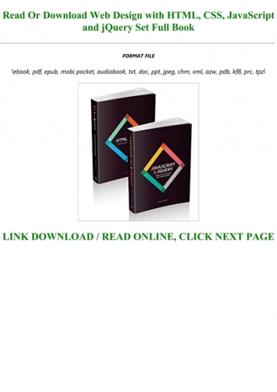 Read Book Pdf Web Design With Html Css Javascript And Jquery Set Full Audiobook