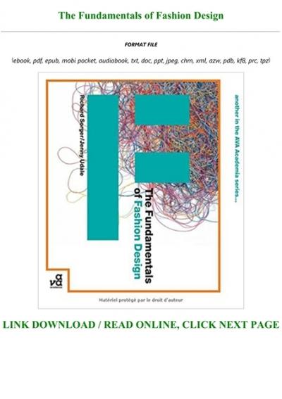 Ebook P D F The Fundamentals Of Fashion Design Pre Order