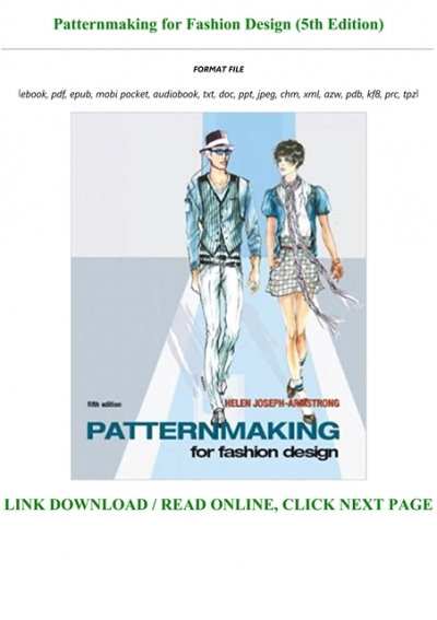 B O O K Patternmaking For Fashion Design 5th Edition Full Online