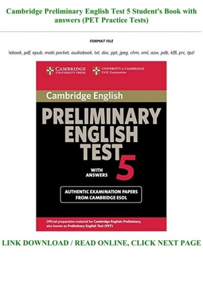 Preliminary English Test Pdf