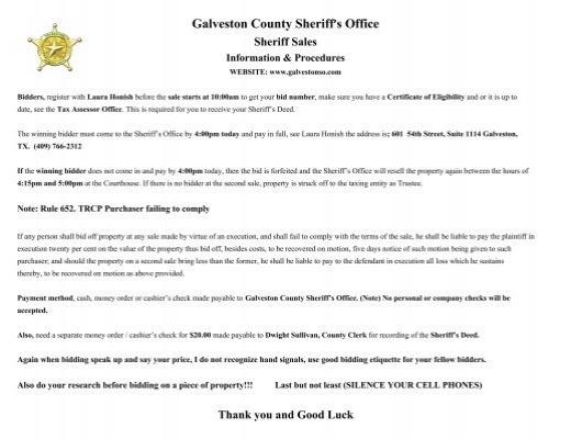 Sheriff Sales - Galveston County