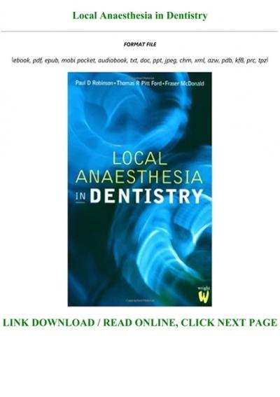 P D F D O W N L O A D Local Anaesthesia In Dentistry Full Pdf Online