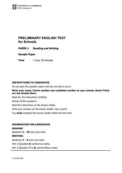 Preliminary English Test For Schools