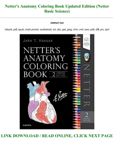 - E-book Download Netter's Anatomy Coloring Book Updated Edition (Netter  Basic Science) Full Pages