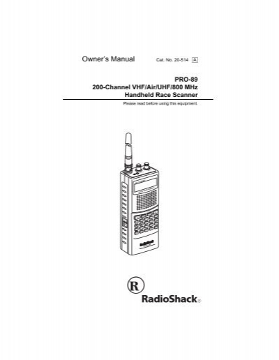 radio shack pro 89 textfiles com rh yumpu com Radio Shack GoPro Radio Shack Race Scanner Programming