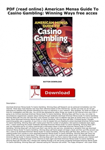 American mensa guide to casino gambling online casino no deposit no download