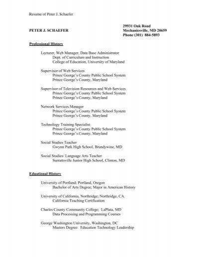 Resume of Peter J. Schaefer 29931 Oak Road PETER J ...