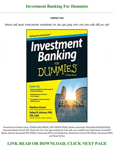 Investment banking for dummies epub format mike pordan fidelity investments