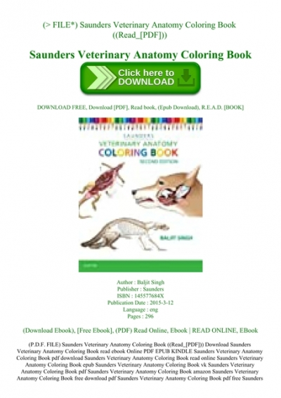 - P.D.F. FILE) Saunders Veterinary Anatomy Coloring Book ((Read_[PDF]))
