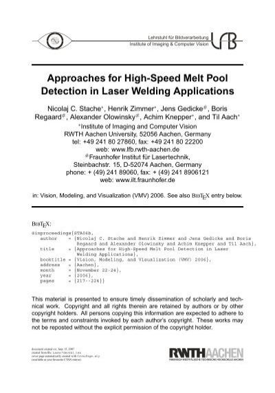 Approaches For High Speed Melt Pool Detection In Laser Welding