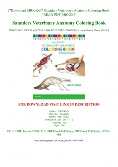 - Saunders Veterinary Anatomy Coloring Book Www.tuningintomom.com