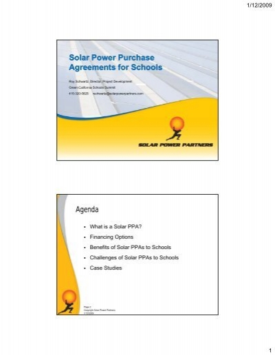 Solar Power Purchase Agreements For Schools Green Technology