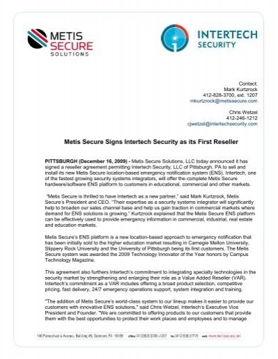 Metis Secure Signs Reseller Agreement With Intertech Security