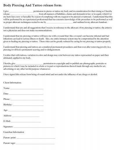 Body Piercing And Tattoo Release Form