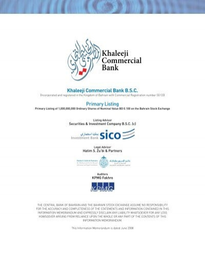 Notes To The Financial Statements Khaleeji Commercial Bank Bsc