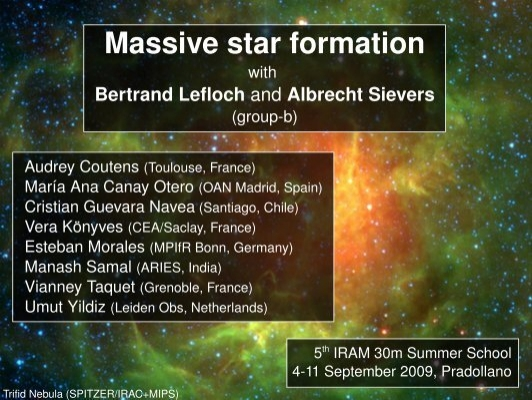 Massive star formation Results Conclusions