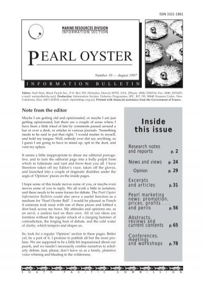 SPC Pearl Oyster Information Bulletin #10 - Secretariat of the Pacific ...
