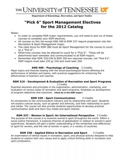 Pick 6 Sport Management Electives For The 2012 Catalog