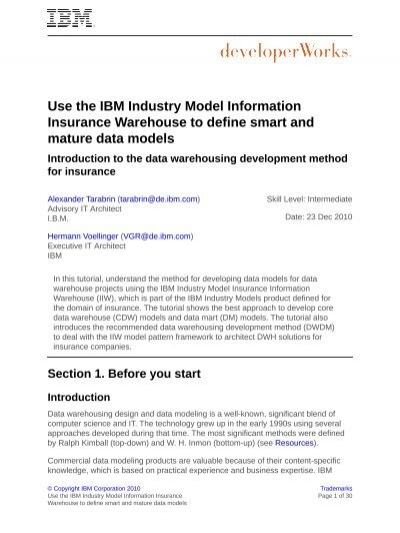 Use the IBM Industry Model Information Insurance Warehouse to