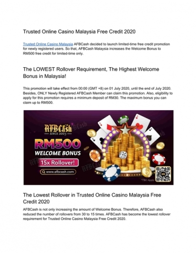 Trusted Online Casino Malaysia Free Credit 2021