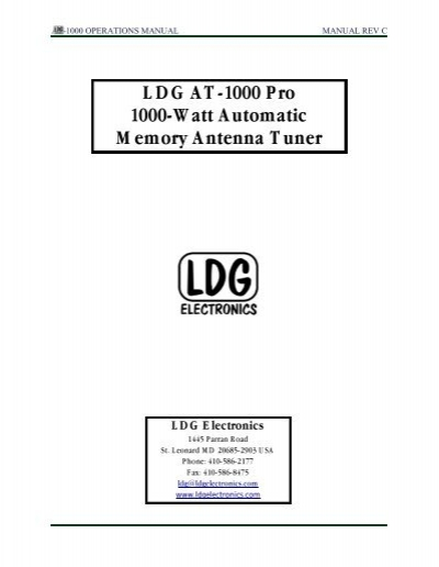 LDG AT-1000 Pro 1000-Watt Automatic Memory     - LDG Electronics