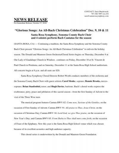 Glorious Songs: An All-Bach Christmas Celebration - Santa