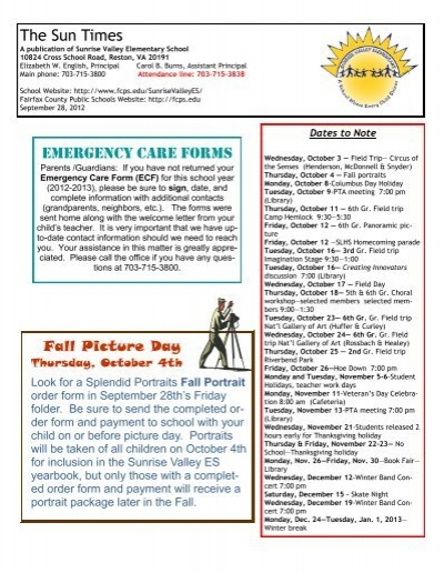 The Sun Times Emergency Care Forms - Fairfax County Public ...
