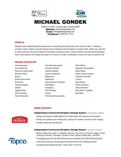 Pdf resume mike gondek graphics design fandeluxe Image collections