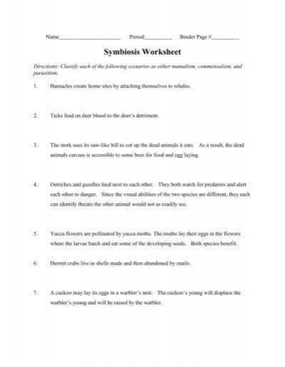 types of symbiosis worksheet - Termolak