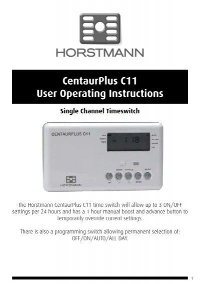 Horstmann 425 range installation instructions centaurplus c11 user operating instructions horstmann freerunsca Images