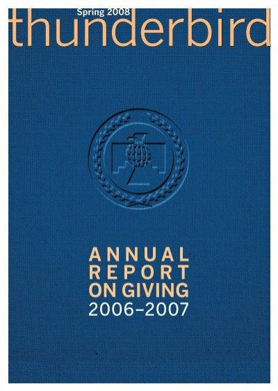 Annual Report On Giving Thunderbird Magazine
