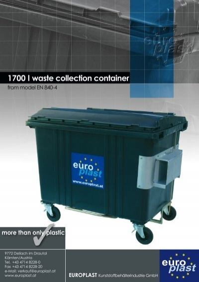 1700 l waste collection container europlast for Container en francais
