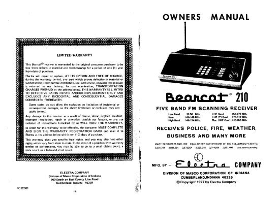 bearcat 210 radio scanner manual the repeater builder s rh yumpu com Bearcat 210 Xlt Manual Bearcat 210 Antenna