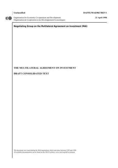 The Multilateral Agreement On Investment Draft Consolidated Text