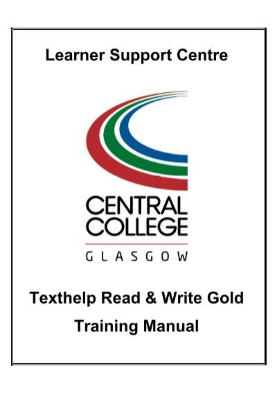 learner support centre texthelp read write gold training manual