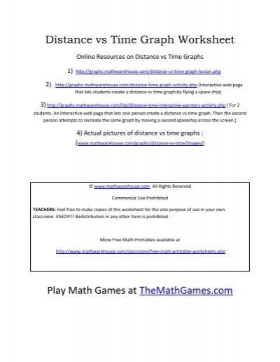 distance vs time graph worksheet math warehouse. Black Bedroom Furniture Sets. Home Design Ideas