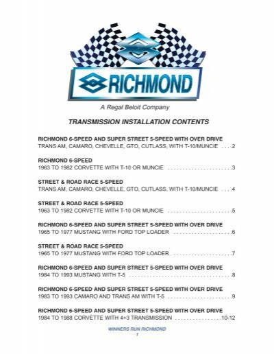 TRANSMISSION INSTALLATION CONTENTS - Richmond Gear
