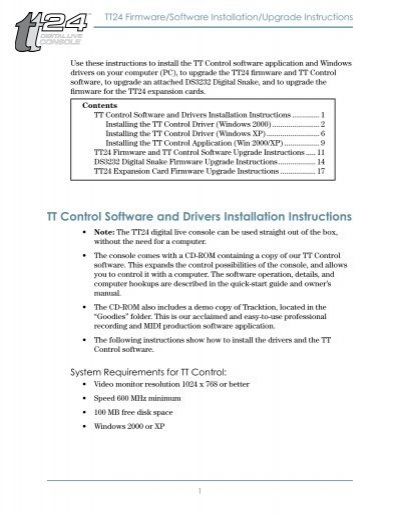 TT Control Software and Drivers Installation Instructions